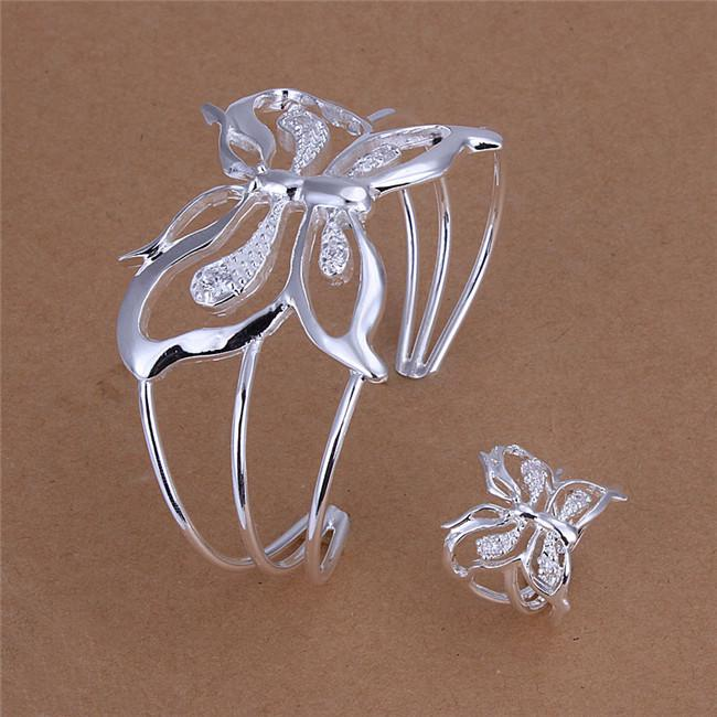 Global Hot 925 sterling silver plated butterfly bangles & Ring Set with Zircon fashion jewelry party gift for woman