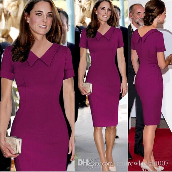 S XXL New Celeb Women Work Casual Dress Princess Kate Middleton Vestidos  Vintage OL Red Bodycon Party Pencil Dresses Dropship Canada 2019 From ... d64607c4c