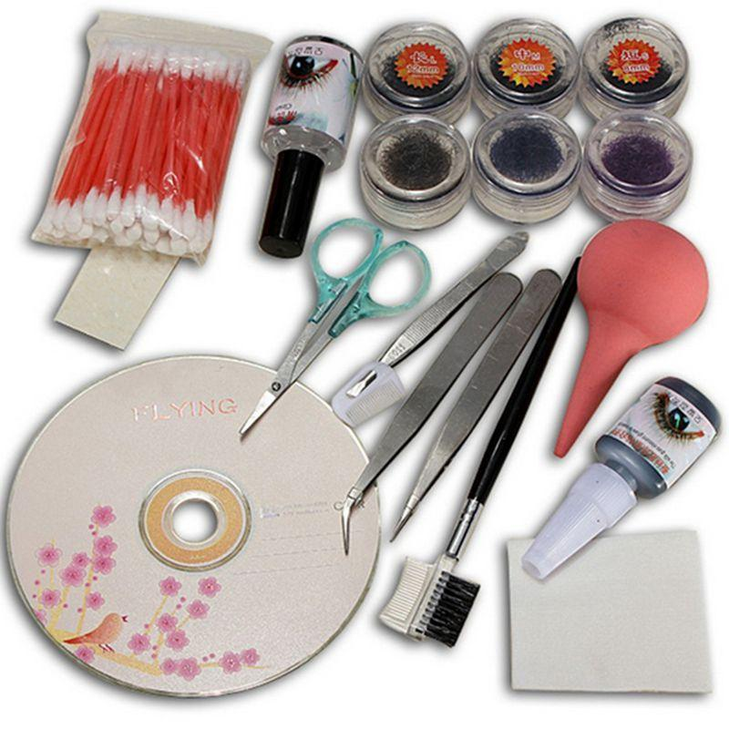 New Pro False Extension Eyelash Glue Brush Kit Set Salon Eyelashes