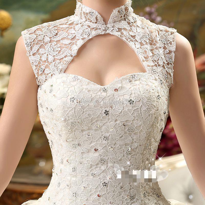 broderie mariée 2015 printemps et en été robe de mariée vente chaude sweetange style coréen doux dentelle romantique princesse strass robe de mariée