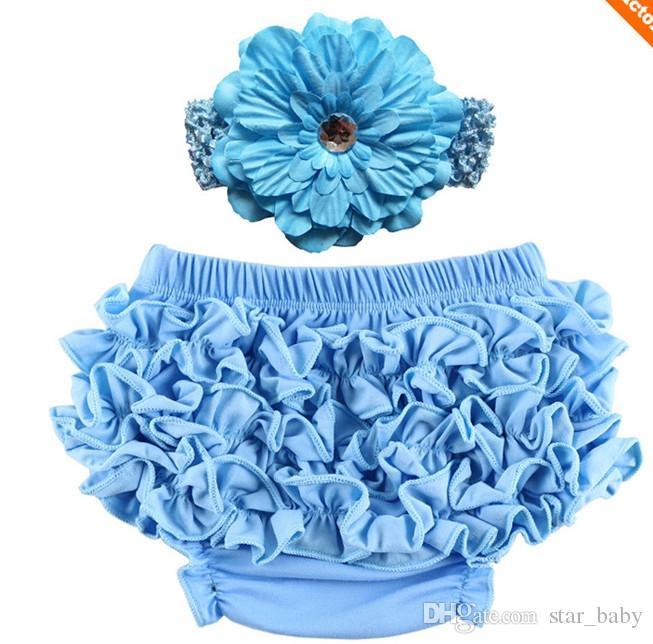 2016 New Born Baby Girls Flower Headband PP Брюки Наборы младенческих детских трусов Повязки Цветочный набор D6270