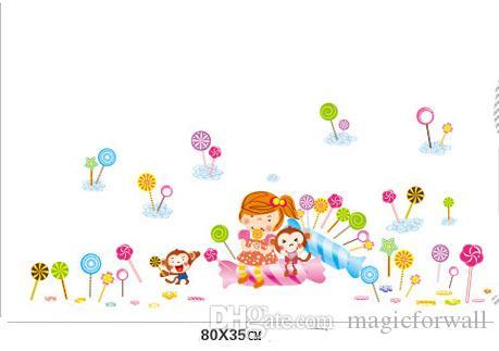 Acheter Singe De Bande Dessinée Petite Fille Sucette Mur Art Décor Mural Romantique Enfants Garçons Filles Pépinière Sticker Autocollant Le Goût De