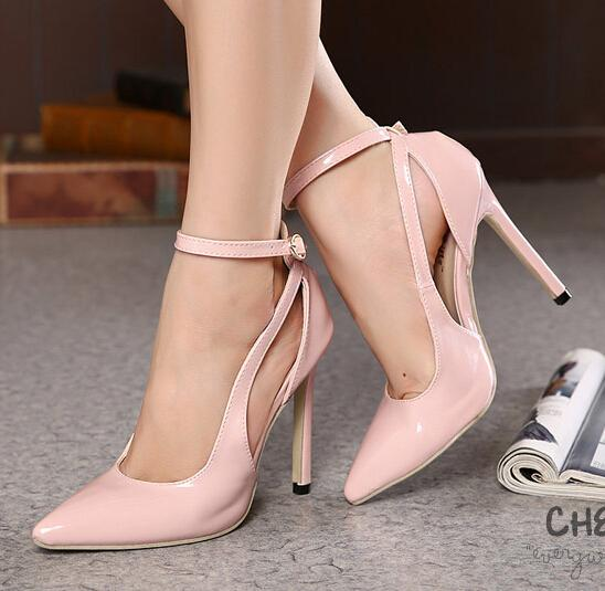 2015 2016 Sexy High Heels Ankle Strap Office Shoes Ladies Shoes ...