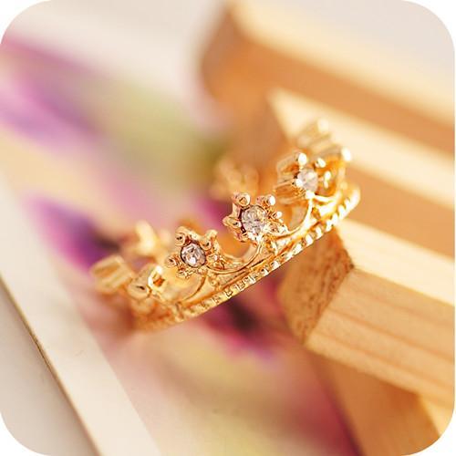 반지 패션 골드 / 실버 도금 합금 크라운 클러스터 반지 여성 보석 새로운 우아한 라인 석 손가락 반지 도매 드롭 배송 SR201