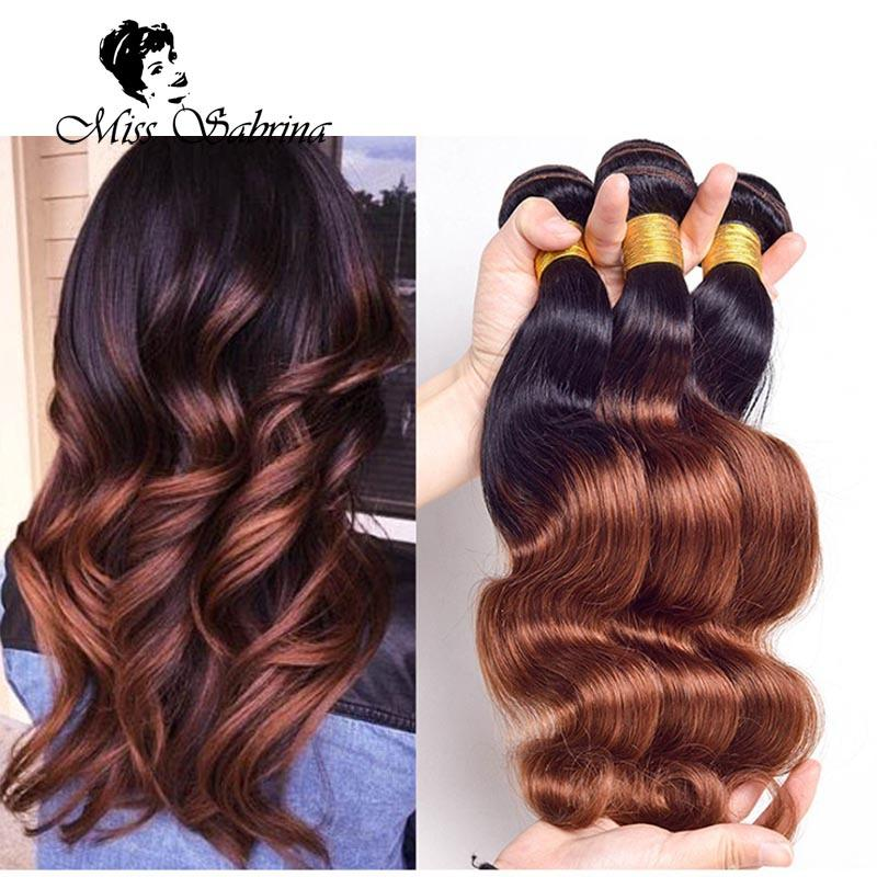 1bhoney Two Tone Hair Weft Ombre Hair Weave 3 Bundles Peruvian Body