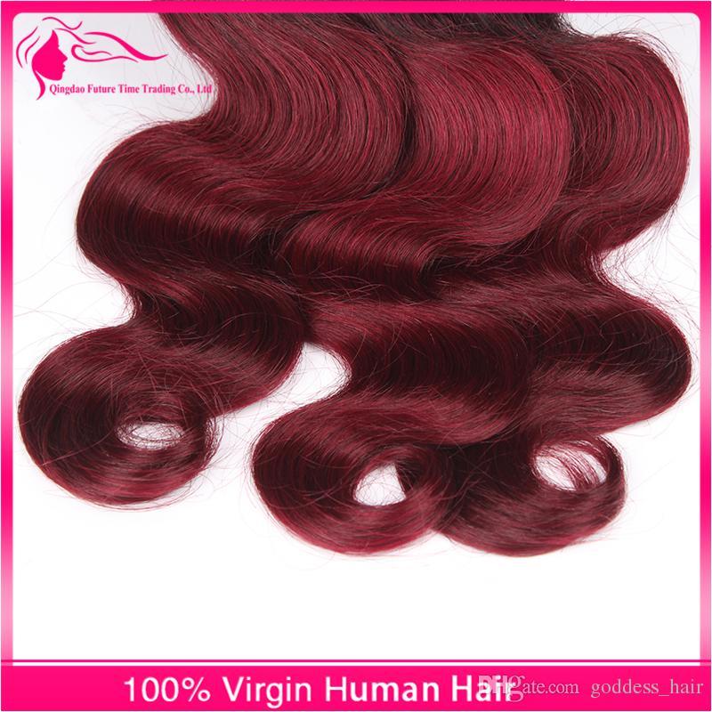 Перуанский топ ломбер человеческие волосы тела волна 1b / 99j ломбер Реми волос ткет 3 пучка черный и бордовый 2 тона наращивание волос