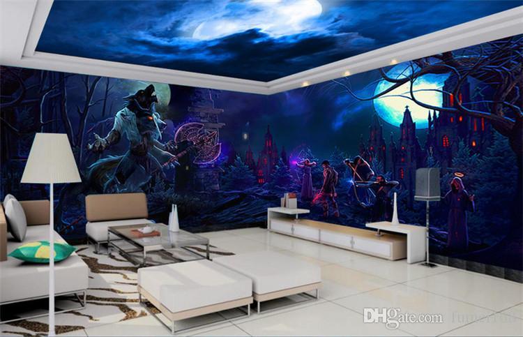 Halloween Realistische Vampir Horror Schädel Rock papel de parede 3D Tapete für Wände 3D Stereo Mysterious Forest Horror Room Escape
