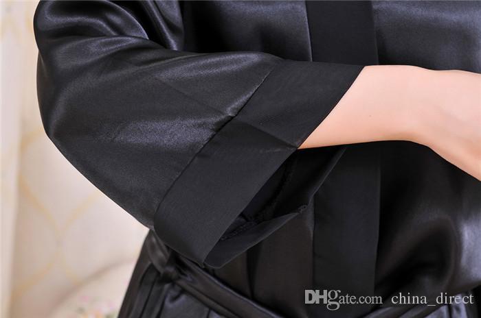 2017 Ladies Womens Solid Plain Satin Rayon Robe Pajama Lingerie Sleepwear Kimono Gown PJs # 3726