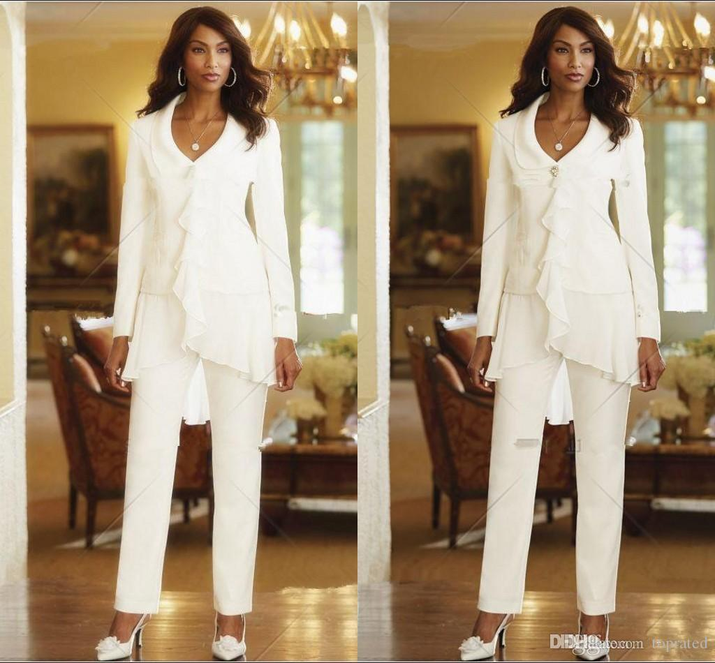 9be05d24cd4c 2016 White Three Pieces Mother Pant Suits Long Sleeves Chiffon Ruffles  Custom Made Elegant Evening Party Gowns New Arrival Formal Dresses For Moms  Joan ...