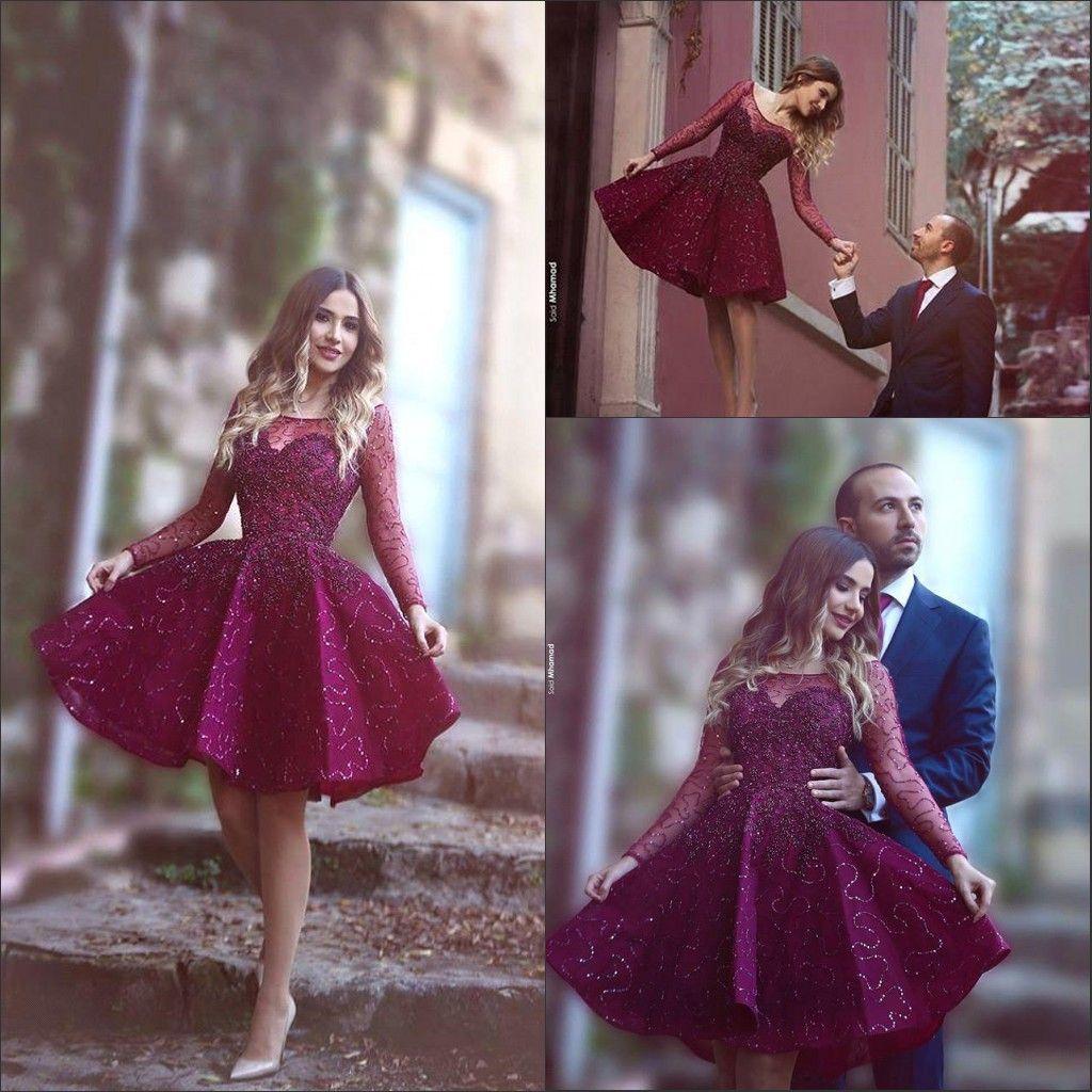 Burgundy Krótkie sukienki koktajlowe Sheer z długim rękawem z koralikami Cekiny powiedział Mhamad Neck Moda krótka Prom Party Suknie Niestandardowe BA1772