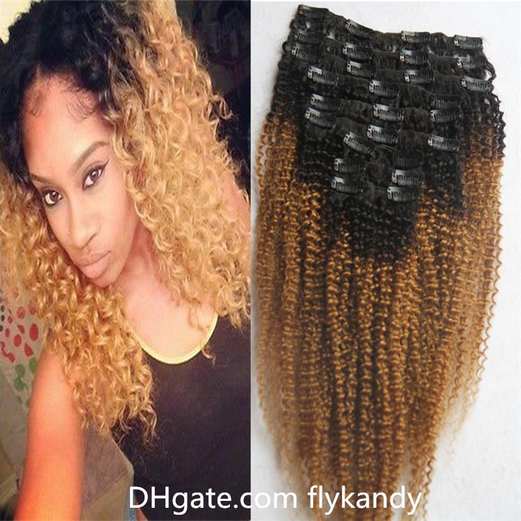 Two Tone Ombre Clip In Human Hair Extensions1b27 Malaysian Afro