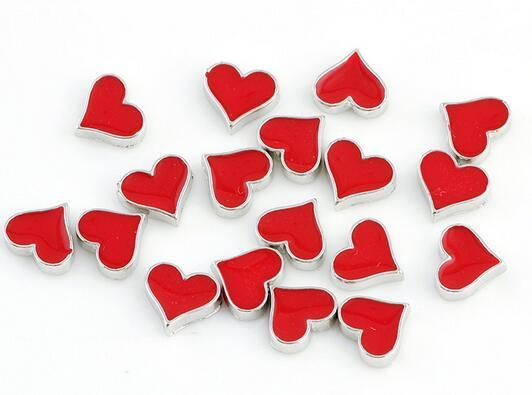 20 قطعة / الوحدة الأحمر بوكر القلب diy سبيكة العائمة المدلاة سحر صالح للزجاج المعيشة المغناطيسي الذاكرة المنجد الأزياء والمجوهرات