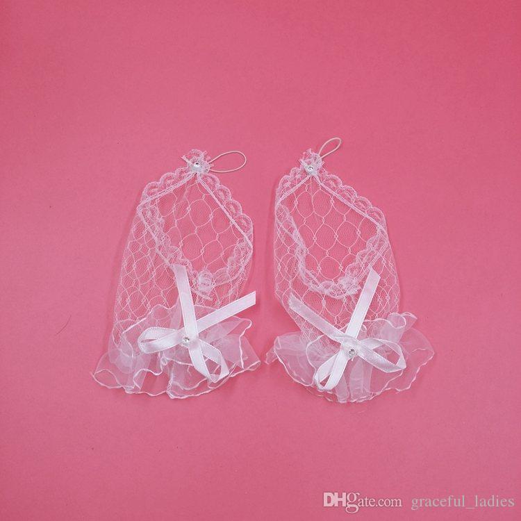 Goedkoop witte vingerloze korte bruids handschoenen zachte tule transaprent polshuwelijk handschoenen bruids accessoires gratis verzending