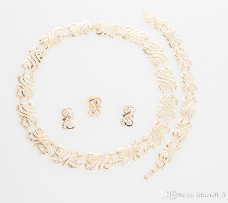 Conjuntos de Jóias de moda Para As Mulheres de Casamento Nupcial Do Partido de Cristal Banhado A Ouro Fina Declaração Colar Brincos Pulseira Anéis Set