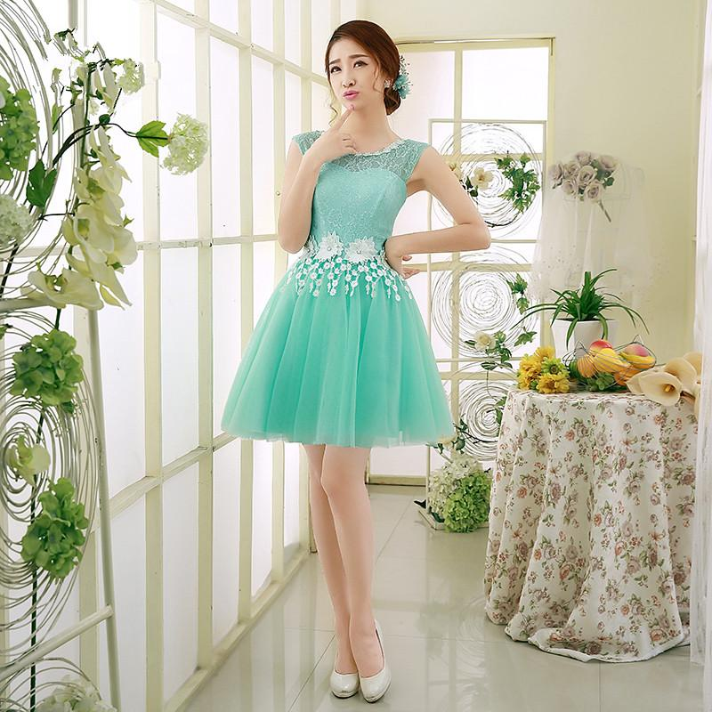Ice Blue Fashion Short Lace Tulle Bridesmaid Dress 2017 Jewel Neck ...