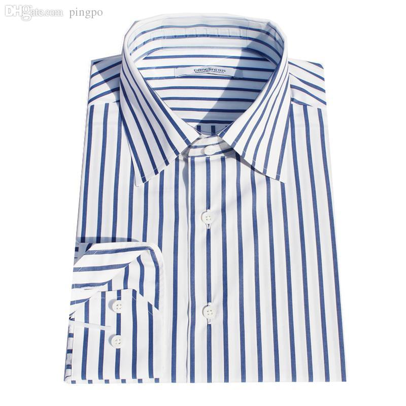 Online cheap wholesale blue wide stripe dress shirt men 39 s for Cost to tailor a shirt