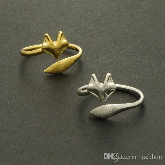 -R023 Ouro Prata Ajustável Bonito Fox Anéis Simples 3d Animal Fox Rosto Cauda anel Minúsculo Torcido Envoltório Fox Anéis para As Mulheres