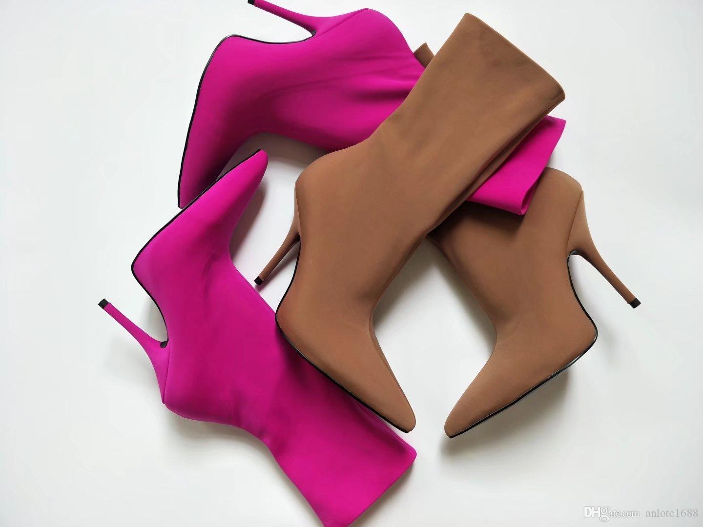 Designer Frauen Blüten Ankle Boots Extreme Spitzschuh Messer Bootie 15 Farben-Socken-Boots Frau Fetisch High Heels Schuhe Freizeitschuhe