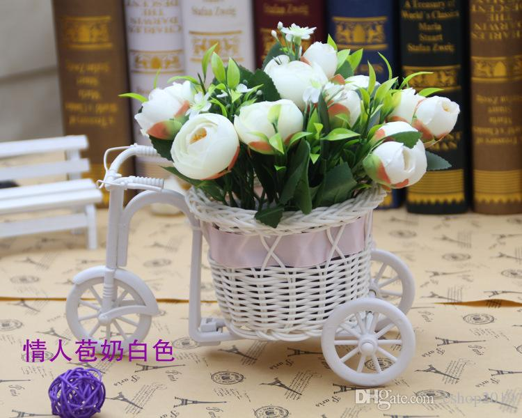 New Arrive Christmas Decorations White Tricycle Bike Design Flower Basket Storage Container Party Wedding