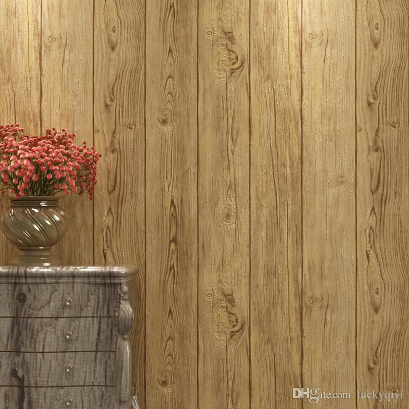 Vintage New Chinese Imitation Wood Grain Floor Pattern Wallpapers