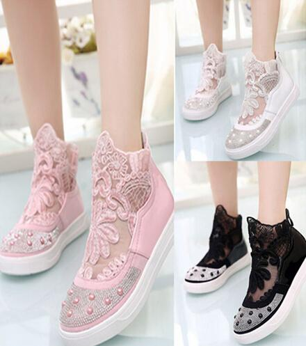 2015 new children casual shoes korean style flowers net cloth big kids leisure shoes fashion Korean fashion style shoes