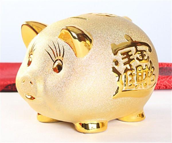 ceramic pig piggy bank good fortune wealth asian feng shui gold