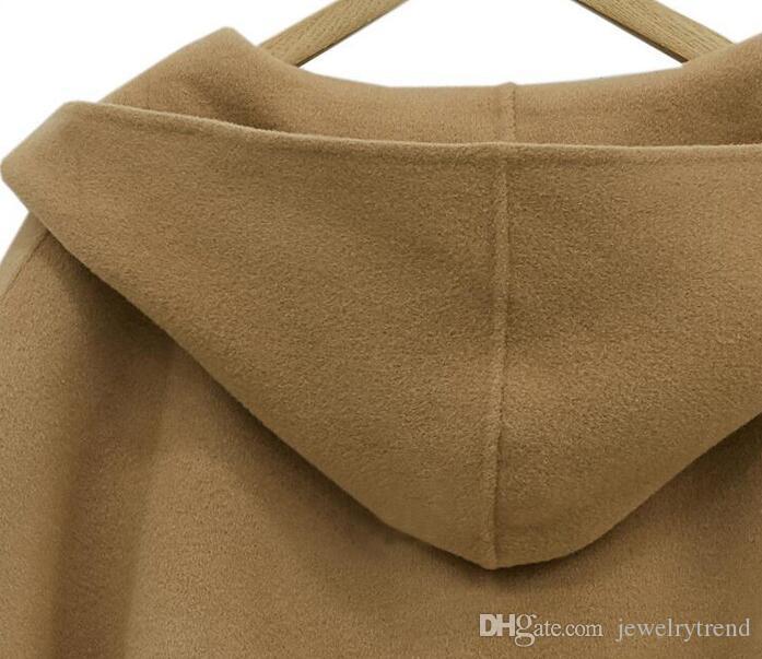 Plus Size New Autunno Inverno misto lana misto soprabito mantello poncho cappotto con cappuccio sciolti top capispalla capo cappotti i C3230