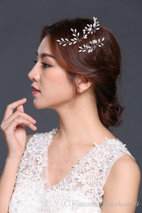 Online Cheap Wedding Hair Accessories Bridal Head Piece With Pearl Pins And Clips Accessoires Cheveux Mariage Forcine Capelli Jewelry By