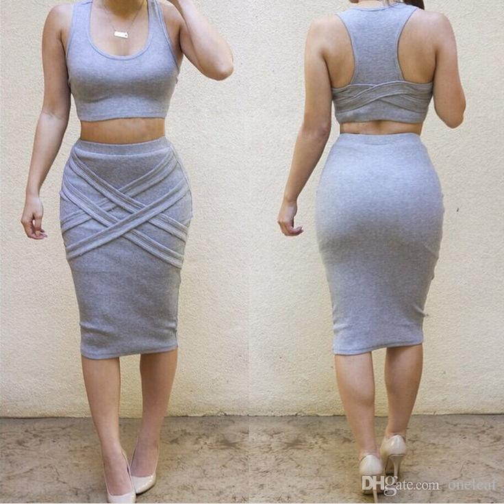 Duas peças sexy dress in sleeveless em torno do pescoço pullover Vest + joelho-comprimento envoltório saia vestidos de decote sexy top colheita clube vestido