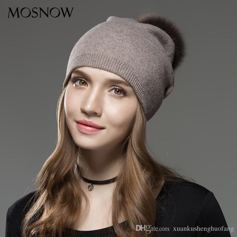 1482133019b Mosnow Hat Female Fashion Raccoon Wool Fox Fur Pom Warm Knitted Cap ...