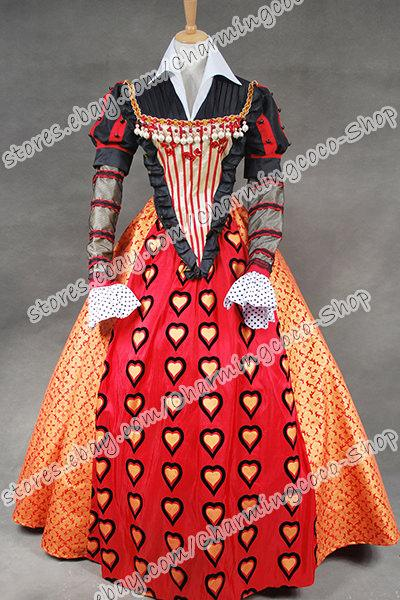 alice in wonderland cosplay red queen costume queen of hearts luxury dress plus size halloween costumes couples costumes from lisacostume