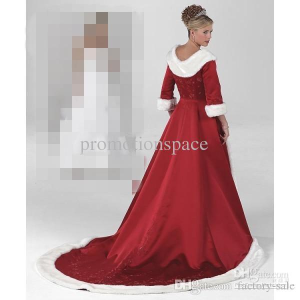 Maniche lunghe Mantello Inverno Ball Gown Abiti da sposa 2019 Rosso caldo abiti formali le donne Pelliccia Appliques Natale Gown Jacket nuziale BO9805