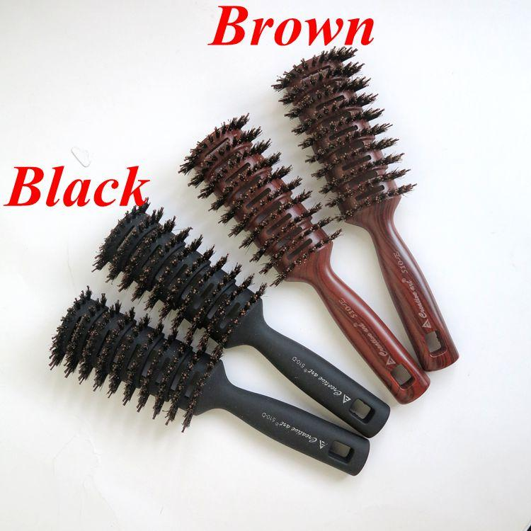 Boar Bristle Hair Brush Brown Color Comb Brush For Hair Extensions