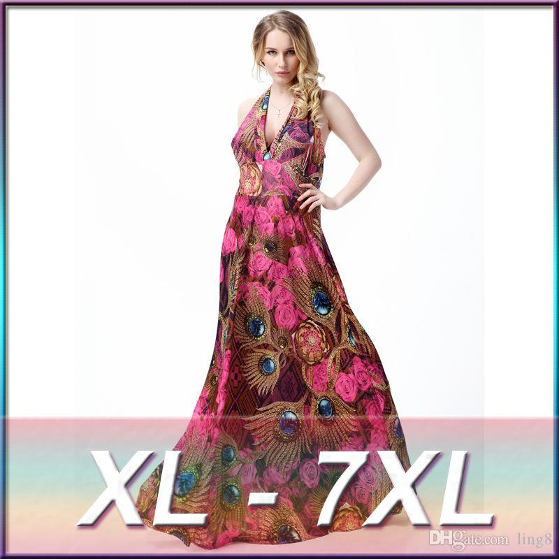 3fe9e7bac43 2016 Long Boho Beach Sexy Maxi Dresses Plus Size Flower Print Dress ...