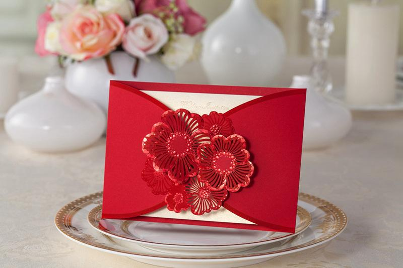 Red Flower Wedding Invitation High Quality Chinese Style Hollow Lace Cards 3D New Arrival Suppliers