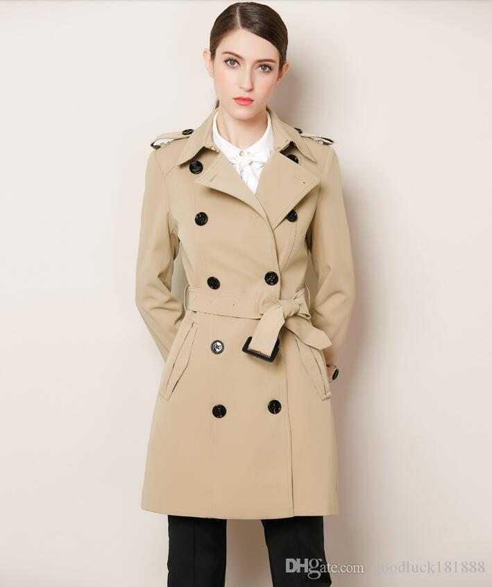 4a29f331da60 New Spring Autumn Women's Classic Double Breasted Trench Coats Ladies  Elegant Long Sleeve Lace-up Dust Coats Girls Fashion Slim Long Surcoat