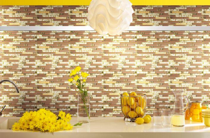 Montado na parede de metal mosaico telha de vidro mosaico de azulejos mistos mosaico de azulejos de parede telhas de revestimento glossing