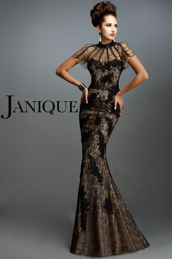 Dresses Evening Wear Janique Applique Lace High Neck Short Sleeves Mermaid Evening Gowns Floor-Length Beaded Satin Black Prom Dresses