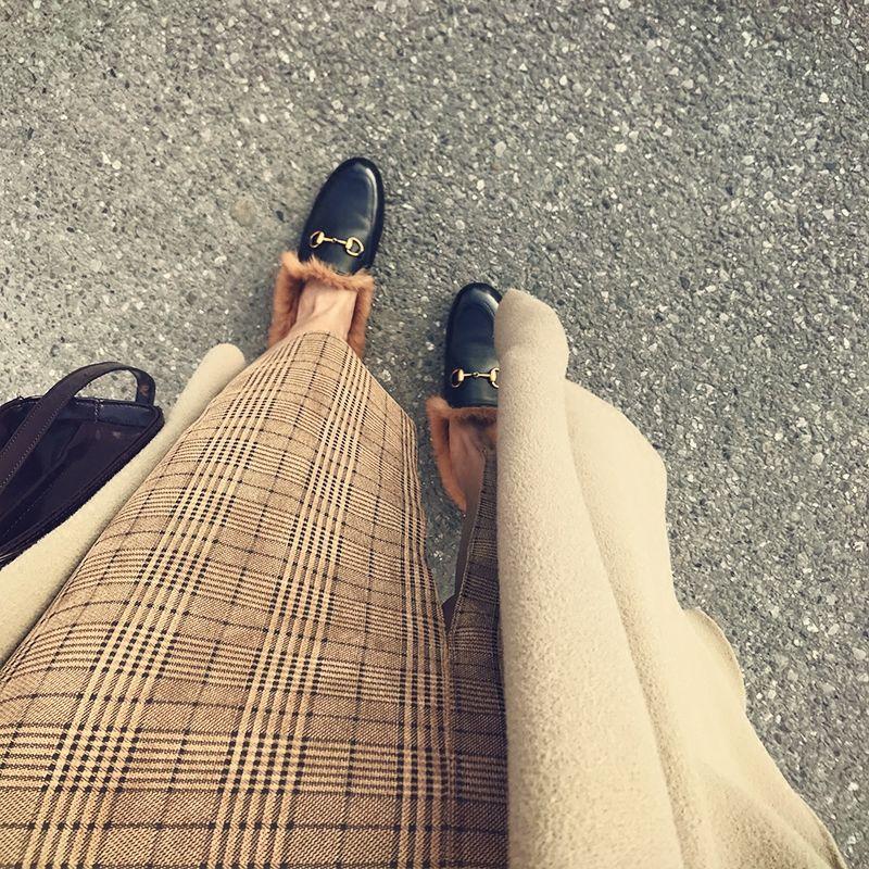 Gerçek resim hakiki deri kış yeni tembel yarım terlik kadın tavşan saç peluş terlik düz İpucu Muller ayakkabı