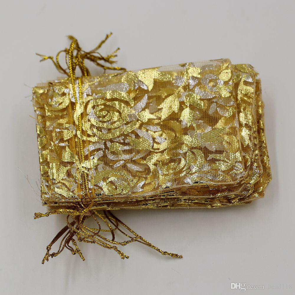 Hot ! Jewelry Packing Gold Roses Organza Pouch Wedding Favor Gift Bags 7x9cm /9x12cm / 13x18cm