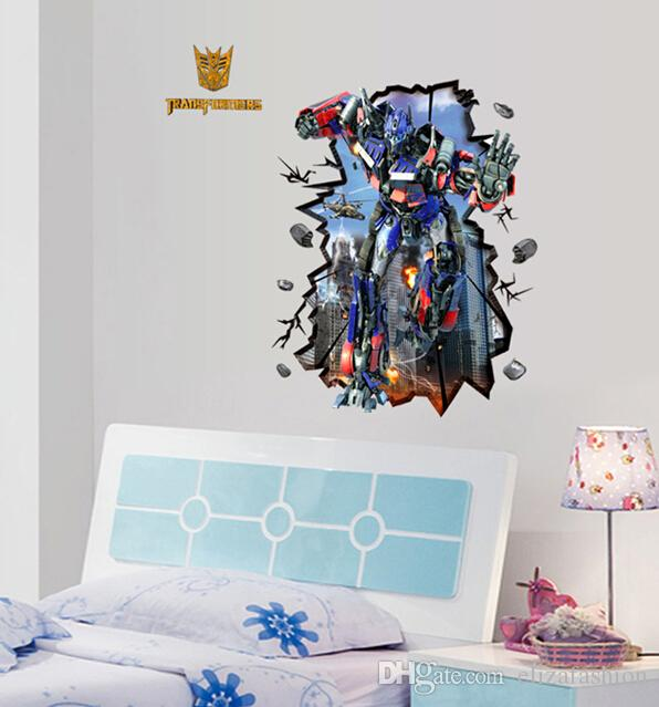 Cartoon Sticker Transformers Wall Stickers Waterproof Wallpaper Boys Room  Décor Wall Decals Poster Decor Art Kids Nursery Room