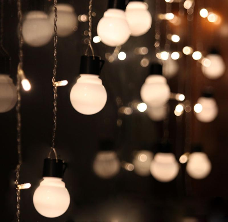 1.5M 48 LED Curtain Globe String Lights Fairy For Home Holiday Wedding  Bedroom Indoor Party New Year Patio Chirstmas Celebration