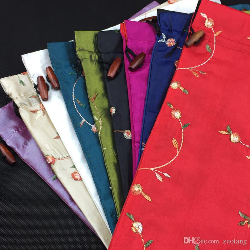 Элегантная вышивка фруктов дорожная сумка обувь сумка атласная ткань Drawstring портативный складной мешок хранения обуви для женщин 10 шт. / Лот