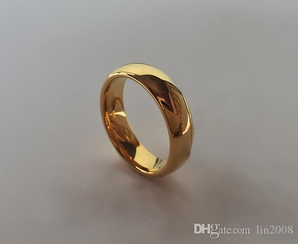 glaze yellow wedding ring for men women with box,24k gold plated marry bride party jewelry accessories,male rings