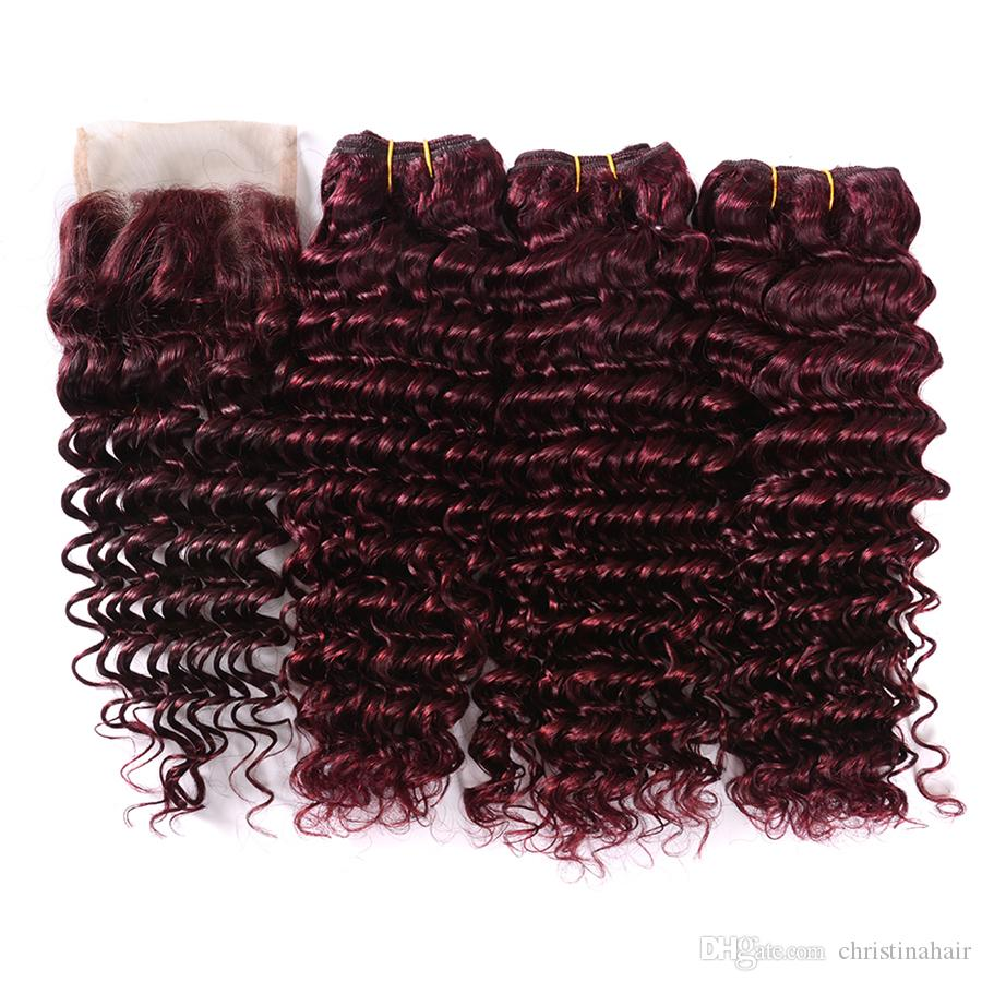 Deep Wave 99J Hair Extension With 4x4 Closure Free Middle Part 99J Ear To Ear Closure With Brazilian Deep Curly Human Hair 3Bundles