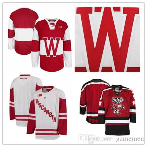 2019 Top Quality Mens NCAA Wisconsin Badgers College Hockey Jerseys Adults  White Red Stithed Wisconsin Badgers Jersey S 3XL From Gamemen 7ba90dbd3a4
