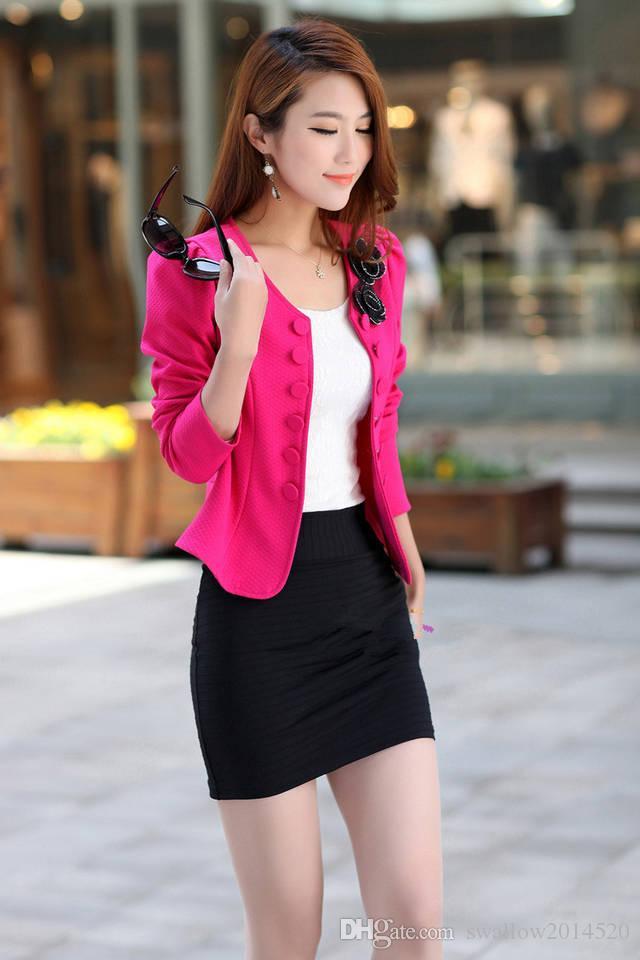 Fashion Women Lady Tops Slim Suit OL Blazer Solid Short Coat Jacket S - XXXL