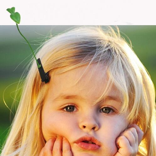 最新の素敵なノベルティ植物草のヘアクリップの帽子の小さな芽のアンテナのヘアピンラッキー草豆もきのこのパーティ製の毛のピンHD3401
