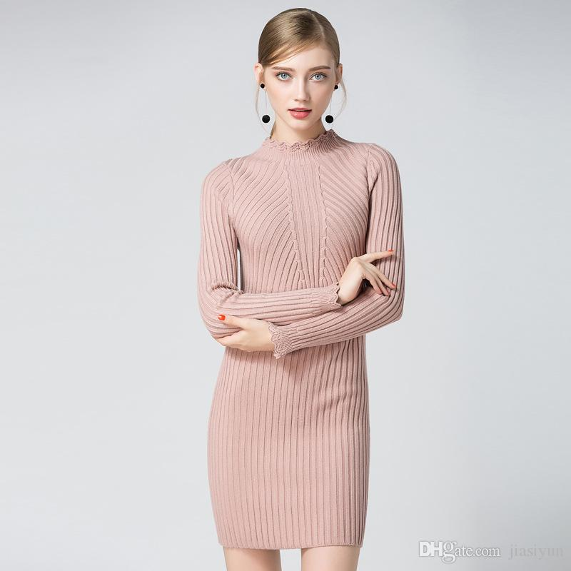 28fad02570 Pink Autumn Winter Women Warm Sweater Dresses Soft Flower Long Sleeve Slim  Bodycon Warm Casual Dress Sexy Mini Knitted Autumn Dress Party And Evening  ...