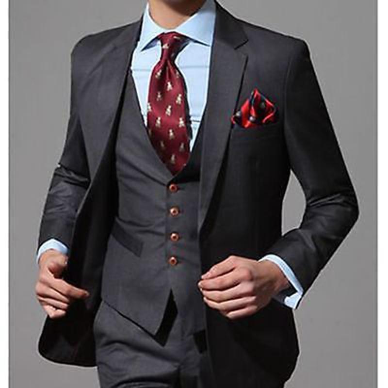 Slim Fit Black Men Suits Groom Tuxedos Wedding Suits For Groomsmen ...